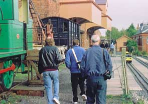Solihull Model Railway Circle - Club members walking to the platforms at Kidderminster Town, Severn Valley Railway 12th October 2003